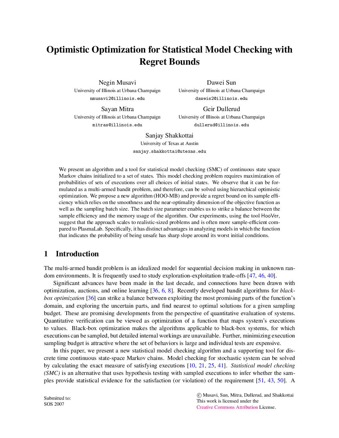 Optimistic Optimization for Statistical Model Checking with Regret Bounds